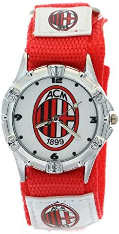 Timermall AC Milan Red Fabric Velcro Strap Analogue Kids Sport Watches