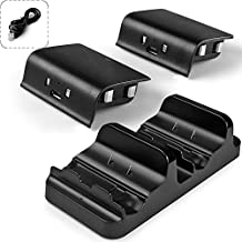 AGPtek® Dual Charging Station Dock Stand USB Charger + 2 Battery for Xbox One Wireless Controller