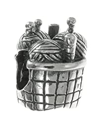 Mother's day gift Sterling Silver Knitting Wool Needle Basket Bead For European Charm Bracelets