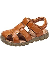 PPXID Boy's Girl's Leather Close Toe Outdoor Casual Sandal