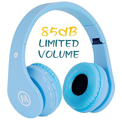 Volume Limited 85dB Protection Kids Headphone Bluetooth Wireless Over Ear Foldable Stereo Sound Headset with AUX 3.5mm Jack Cord Mic For Boys Girls Child TV Ipad Headset Sound Noise Mokata V2 Blue