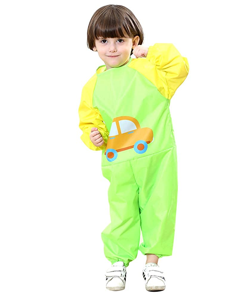 Flairstar Childrens Long-Sleeved Cartoon Onesies Waterproof Painting Clothes Play Clothes