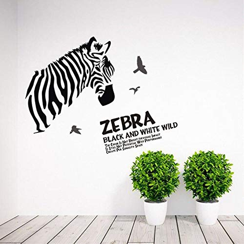 EXJD Personality Creative Wall Sticker Black and White Zebra Creative self-Adhesive Removable Wall Painting Children's Bedroom Animal Wall Stickers (And Black Zebra Floor White Tile)