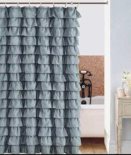 Waterfall Silver Ruffled Shower - Ruffle Shower Curtain