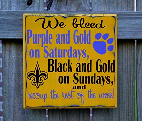 Iliogine Wooden Plaque Sign Gift Tigers New Orleans Saints Football Custom Geaux Tigers Football Sign Man Cave Cabin Wall Decor Housewarming Gift