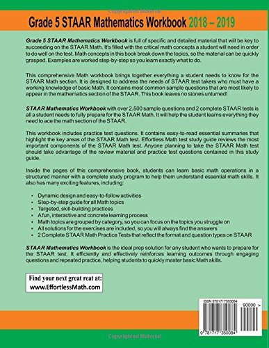 Grade 5 STAAR Mathematics Workbook 2018 - 2019: A Comprehensive ...