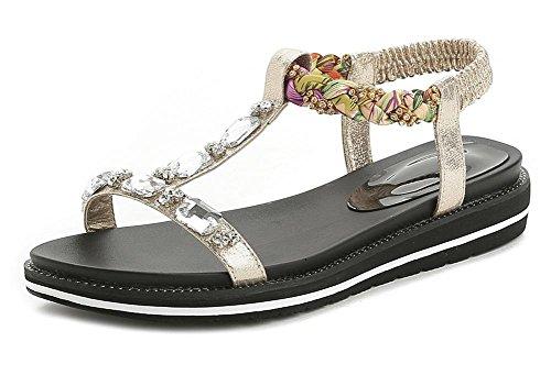 Sommer Sandalen Vintage Strass Sandalen und Pantoffeln Sandalen mit niedrigen Absätzen Sandalen Frauen Gold
