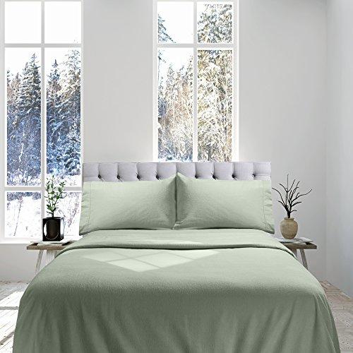 Genteele 100% Cotton Flannel Sheet Set - Luxury Weight - Ultra Soft Premium Velvety Quality - King, Sage