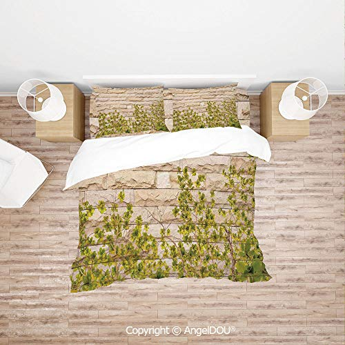 PUTIEN Soft Microfiber Duvet Cover Set (1 Duvet Cover+ 1 Sheet +2 Pillow Cases) Bedding Set,Ground Creepy Climbing Wood Ivy Plant Leaf on Brick Wall Nature Invasion,with Zipper Closure Home Bedding S