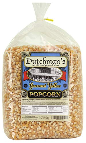 Dutchman's Popcorn - Gourmet Yellow Popcorn Kernels (4lb Refill Bag), Old Fashioned Popping Corn, Non GMO, Gluten Free, Microwaveable, Stovetop and Air Popper Friendly