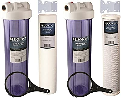"Two 20"" BLUONICS Big Blue Whole House Water Filters w/ Sediment & Carbon with CLEAR BLUE TRANSPARENT HOUSINGS"