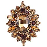 EVER FAITH Women's Rhinestone Crystal Elegant Sunflower Brooch Brown Antique Gold-Tone