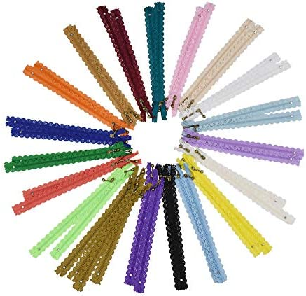 20 x Assorted Nylon LACE Closed End Zips Floral Zipper for Crafts
