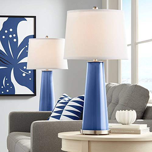 Leo Modern Table Lamps Set of 2 Monaco Blue Glass Tapered Column Plain White Drum Shade for Living Room Family Bedroom - Color + Plus (Monaco Contemporary Table Lamp)