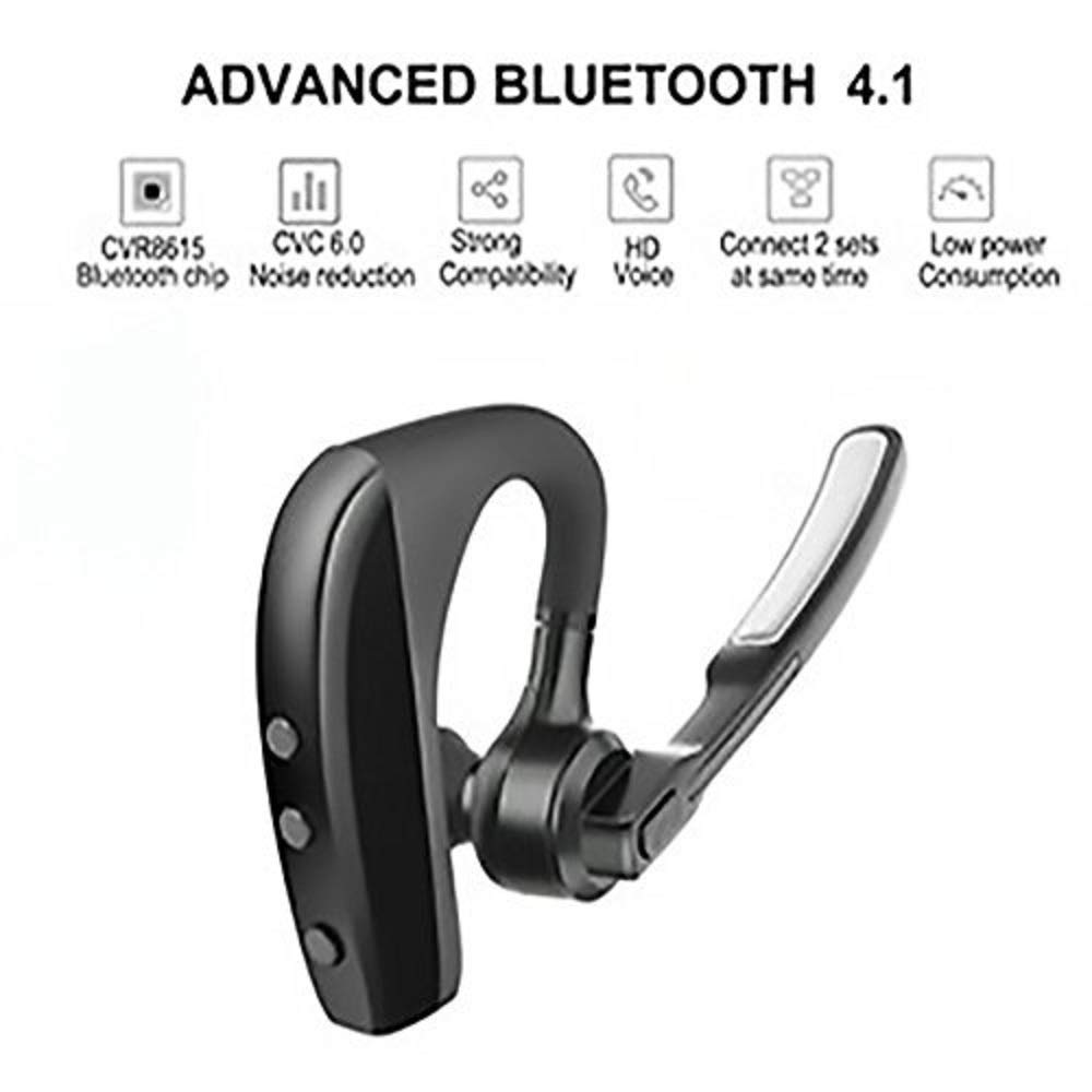 AUXBLUE Bluetooth Headset Wireless Handsfree Earpiece Headphone Active Noise Cancelling Double Digital MIC Cell Phone Trucker Business Office (Black) (MIC-Out) by AUXBLUE