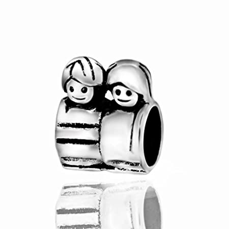 918ca8659 Mom's Son Daughter Boy Girl Brother Sister 925 Sterling Silver Charm Bead  Fits Pandora Chamilia Biagi Troll Charms Europen Style Bracelets: Amazon.co. uk: ...