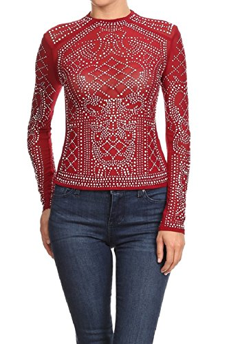 2Chique Boutique Women's Long Sleeve Studded Detail Crew Neck Top - Studded Top Crewneck