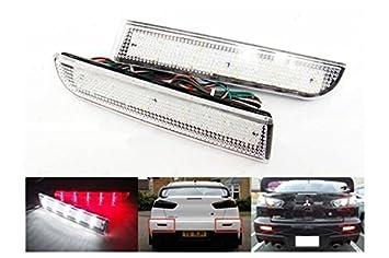Kit 2 faros traseros LED transparente para Mitsubishi Lancer Outlander Sport RVR ASX Repuestos Reflector Reflectante Rear Bumper Tail Brake Reflector Light: ...