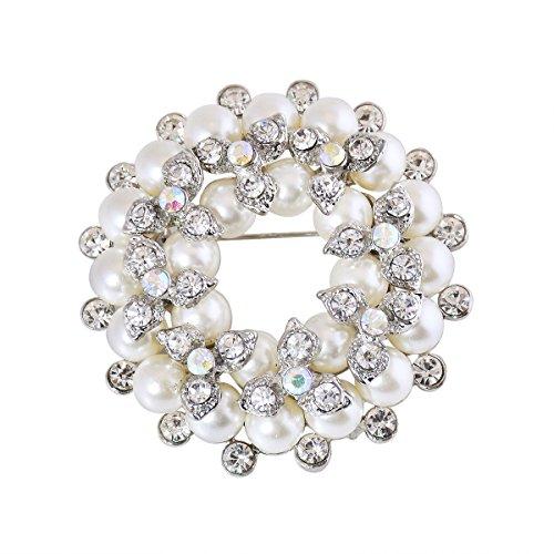 ElegantPark BP1709 Women Fashion Jewelry Double Floral Pearls Gift Dress Brooch Pins Silver by ElegantPark