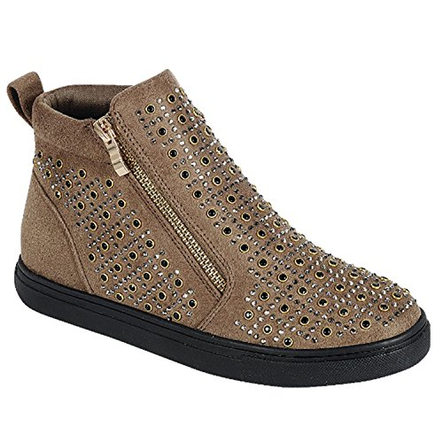 Taupe Kid Leather (Best Kate High Top Fashion Metallic Taupe Flat Heel Round Toe Vegan Leather Zippering Slip On Cute Trendy Studded Designer Spring Bootie Shoe Sneaker Easter Sale For Women Teen Girl (Size 10, Taupe))