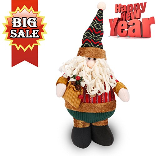 Christmas Figure Plush Standing Toy Holiday Week Christmas Day Gift Ornament Decoration Cute Lovely Adorable Xmas Gift Present for Home Indoor Office Room Shelf Window Table Santa Claus