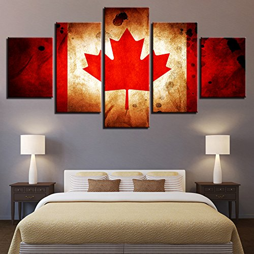 [LARGE] Premium Quality Canvas Printed Wall Art Poster 5 Pieces / 5 Pannel Wall Decor Canada Flag Painting, Home Decor Pictures - With Wooden - Frames Canada