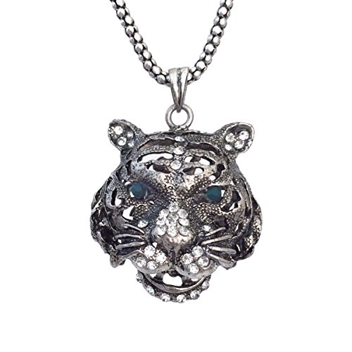 Silver Tone Tigers Eye - Long Silver Tone Tiger Face Rhinestone Green Eyes Necklace