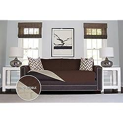 The Original SOFA SHIELD Reversible Furniture Protector, Features Elastic Strap (Sofa: Chocolate/Beige)