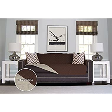 The Original SOFA SHIELD Reversible Furniture Protector, Features Elastic Strap (Sofa Extra Wide: Chocolate/Beige)
