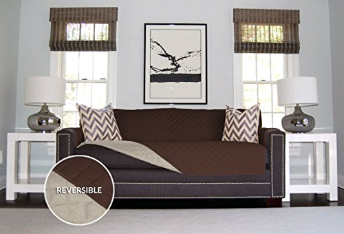 The Original SOFA SHIELD Reversible Furniture Protector, Features Elastic Strap (Sofa: Chocolate/Beige) (Slipcovers For Pets)