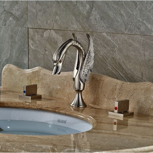 Gowe Bathroom 3pcs Brushed Nickle Sink Faucet Deck Mounted Mixer Tap Double Handles 0