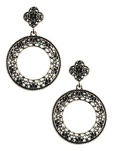 """Antiqued Silver Tone Ring (Lacy Victorian Look Antiqued Filigree Silver-Tone Door Knocker Style Hoop Earrings, 1 1/8"""" Diameter)"""