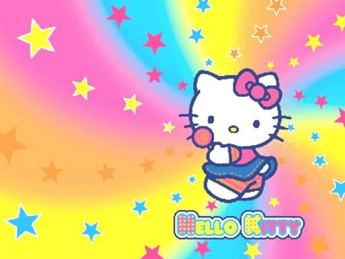New Hello Kitty Rainbow Stars Edible Cake Image