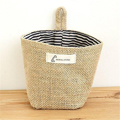 FUBARBAR Essentials Mini Linen Cotton Storage Basket Woven Basket Collapsible Convenient Storage Bin for Door Keys Small Stuff (Blue Stripes)