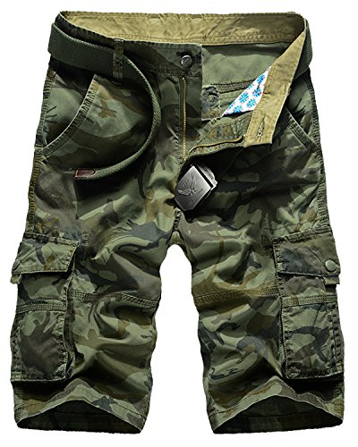 Pleated Bermuda Shorts (Men's Multi-Pocket Casual Camo Cargo Shorts, Summer Cotton Camouflage Dungarees Army Green Size 42)