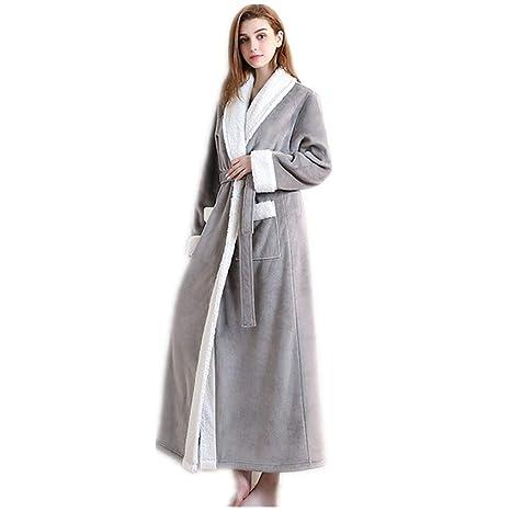 Mujer Albornoz Invierno Pijama Bata de baño de casa, Lujoso y Suave Bata de Noche