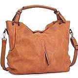 Handbags for Women WISHESGEM Large Capacity Ladies Hobo Purses Top Handle PU Leather Shoulder Bags Brown