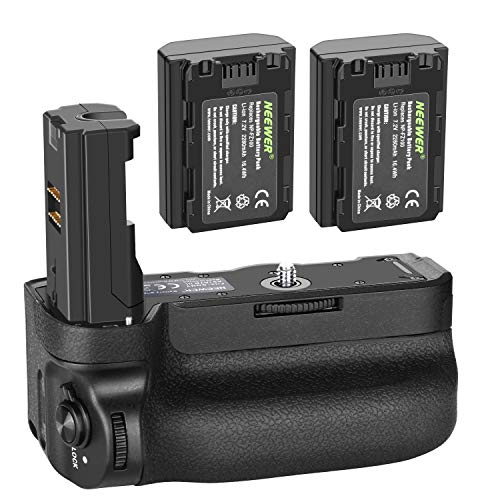 (Neewer Vertical Battery Grip for Sony A9 A7III A7RIII Cameras, Replacement for Sony VG-C3EM with 2 Packs 7.2v 2280mAh 16.4Wh Rechargeable Li-ion Battery)