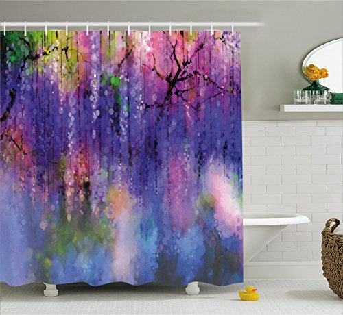 Ambesonne Watercolor Flower Home Decor Shower Curtain by, Misty Vogue Wisteria Back Tree Branches Defocus Nature Print, Fabric Bathroom Decor Set with Hooks, 84 Inches Extra Long, Violet Pink