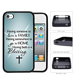 Family Blessing Quote with Light Teal Gradient and Cross Background Hard Rubber TPU Cell Phone Case Cover iPhone 4 4s wangjiang maoyi