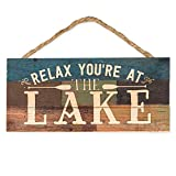 Relax You're at the Lake Canoe Paddles 5 x 10 Wood Plank Design Hanging Sign