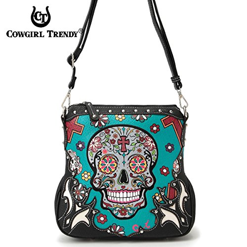 (Sugar Skull Messenger Sling Bag Day of the Dead Purse with Concealed Carry Pocket,)