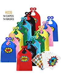 9b7fe16d5a1f Children Super Hero Capes and Masks Bulk Pack with Superhero Stickers -  Superhero Themed Birthday Party