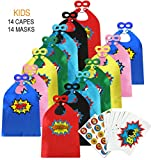 ADJOY-Children-Super-Hero-Capes-and-Masks-Bulk-Pack-with-Superhero-Stickers--Superhero-Themed-Birthday-Party-D