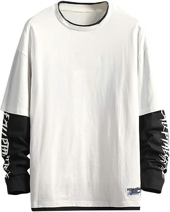 Camiseta de Manga Larga para Hombre,Camisetas Algodón Cuello Redondo T-Shirt Talla Grande Tops Blusa Casual Suelto Camiseta Color Sólida tee Hip Hop 2020: Amazon.es: Ropa y accesorios
