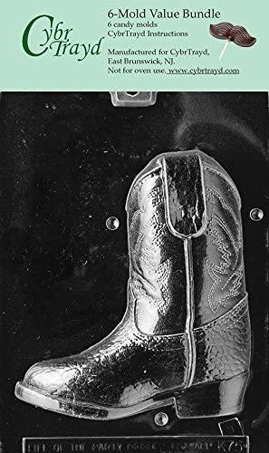 Cybrtrayd K075B-6BUNDLE 3D Cowboy Boot-Piece 2 Chocolate Candy Mold with Exclusive Copyrighted 3D Chocolate Molding Instructions