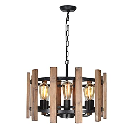 Baiwaiz Wooden Drum Chandelier, Farmhouse Pendant Lighting 6 Lights Edison  E26 Max 360W Black Rust