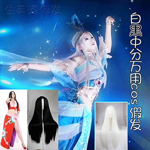 - Carve long straight black and white / costume / pirate women girls female emperor / Legend of God to kill the demon prince of terraced rice paddies Xuenv wig