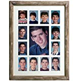 Excello Global Products Collage Picture Frame - School Years Photo Frame with 13 Openings. Photo Holder Displays Horizontal or Verticle. 12'x16' Inches (Brown)