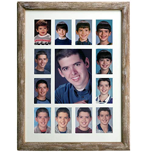 - Excello Global Products Collage Picture Frame - School Years Photo Frame with 13 Openings. Photo Holder Displays Horizontal or Verticle. 12